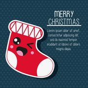 Kawaii boot. Merry Christmas design. Vector graphic Stock Illustration
