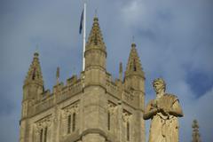 Bath, England - 30 October 2011: Tower of Bath Abbey - stock photo