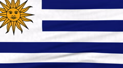 National flag of Uruguay flying on the wind Stock Footage