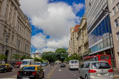 BUENOS AIRES, ARGENTINA - MAY 02, 2016: normal traffic in the street on a sunny - stock photo