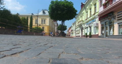Chernivtsi, Ukraine. Kobylianskaya street. Aerial. Stock Footage