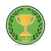 Trophy and wreath icon. Golf sport design. Vector graphic Stock Illustration