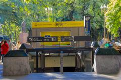 BUENOS AIRES, ARGENTINA - MAY 02, 2016: Subway entrance located in a park Stock Photos