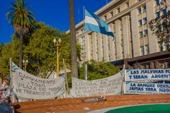 BUENOS AIRES, ARGENTINA - MAY 02, 2016: the flag of Argentina surrounded by Stock Photos