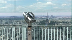 Telescope In Montparnasse Tower Panoramic Observation Deck In Paris, Zoom In Stock Footage