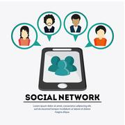 Smartphone and avatar people design. Social Network. Vector grap - stock illustration