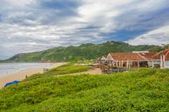 FLORIANOPOLIS, BRAZIL - MAY 08, 2016: nice view of praia mole with some Stock Photos
