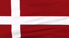 National flag of Denmark flying on the wind Stock Footage