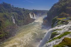IGUAZU, BRAZIL - MAY 14, 2016: nice view of the river that flows collecting the Stock Photos