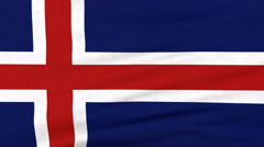 National flag of Iceland flying on the wind Stock Footage