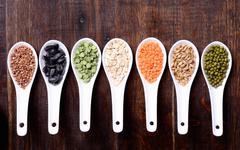 Cereals in ceramic bowls Stock Photos