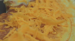 Grated Cheese Omelete Cooking Extreme Closeup Stock Footage