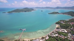 Cape Panwa in Phuket Aerial Pan Shot Towards Chalong Bay and Koh Lon Stock Footage