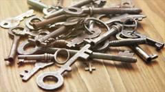 Vintage keys Stock Footage