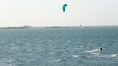 Kite surfing Dinard, Brittany, Northern France Stock Footage