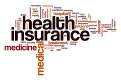 Health insurance word cloud concept Stock Illustration