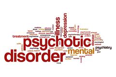 Psychotic disorder word cloud concept Stock Illustration