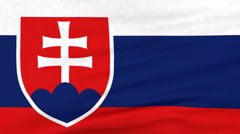 National flag of Slovakia flying on the wind Stock Footage