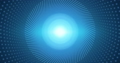 Into colorful blue infinity. Moving through fractal point circular tunnel. Stock Footage