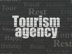 Travel concept: Tourism Agency on wall background Stock Illustration
