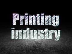 Industry concept: Printing Industry in grunge dark room - stock illustration