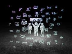 Political concept: Election Campaign in grunge dark room - stock illustration