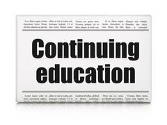 Studying concept: newspaper headline Continuing Education Stock Illustration