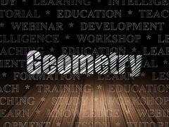 Learning concept: Geometry in grunge dark room - stock illustration