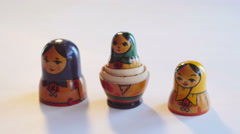 Matryoshka Doll on a white background in 4k Stock Footage