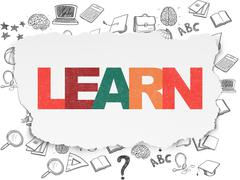 Learning concept: Learn on Torn Paper background - stock illustration