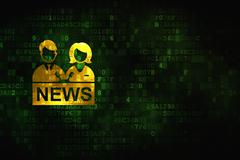 News concept: Anchorman on digital background Piirros