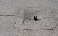 Flat roof drain close up. Stock Photos