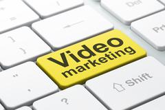 Marketing concept: Video Marketing on computer keyboard background - stock illustration