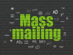 Marketing concept: Mass Mailing on wall background Stock Illustration