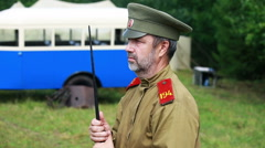 Historical reconstruction second world war. Stock Footage