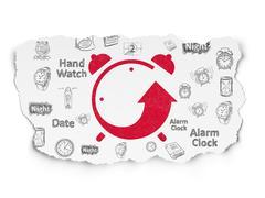 Time concept: Alarm Clock on Torn Paper background - stock illustration