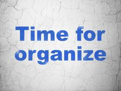 Timeline concept: Time For Organize on wall background Stock Illustration