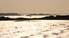 Wind surfing, sunset, Dinard, Brittany, Northern France Stock Footage