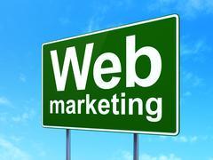 Web development concept: Web Marketing on road sign background Stock Illustration