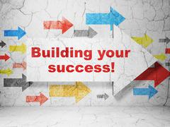 Business concept: arrow with Building your Success! on grunge wall background - stock illustration