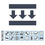 Pressure Down Flat Glyph Icon With Bonus Stock Illustration