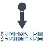 Pull Down Flat Glyph Icon With Bonus Stock Illustration
