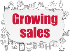 Finance concept: Growing Sales on Torn Paper background - stock illustration