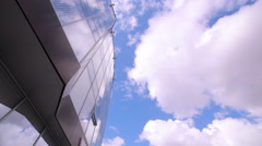 Time lapse, clouds reflected in office Building. Business concept - stock footage