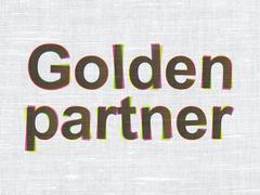 Business concept: Golden Partner on fabric texture background Stock Illustration