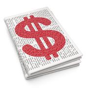 Money concept: Dollar on Newspaper background - stock illustration