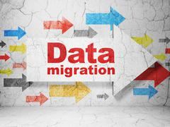 Data concept: arrow with Data Migration on grunge wall background Stock Illustration
