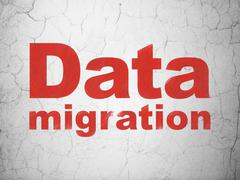 Information concept: Data Migration on wall background Stock Illustration