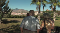 Senior citizens looking at view Stock Footage