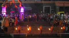 Hindu priests swinging torch at evening ceremony,Ujjain,India Stock Footage